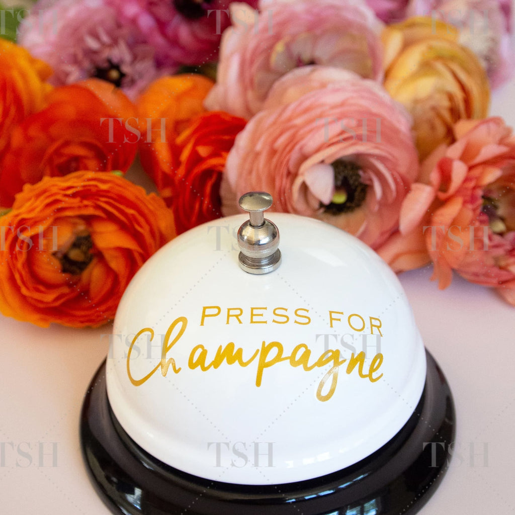 Press for champagne bell and colorful spring flowers.