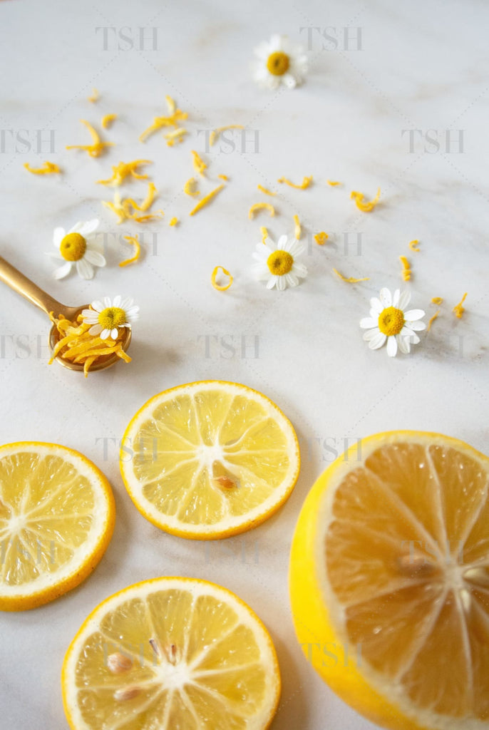 Styled Stock Photography - Lemons And Chamomile Flowers Spring Fever Collection 0343P Portrait