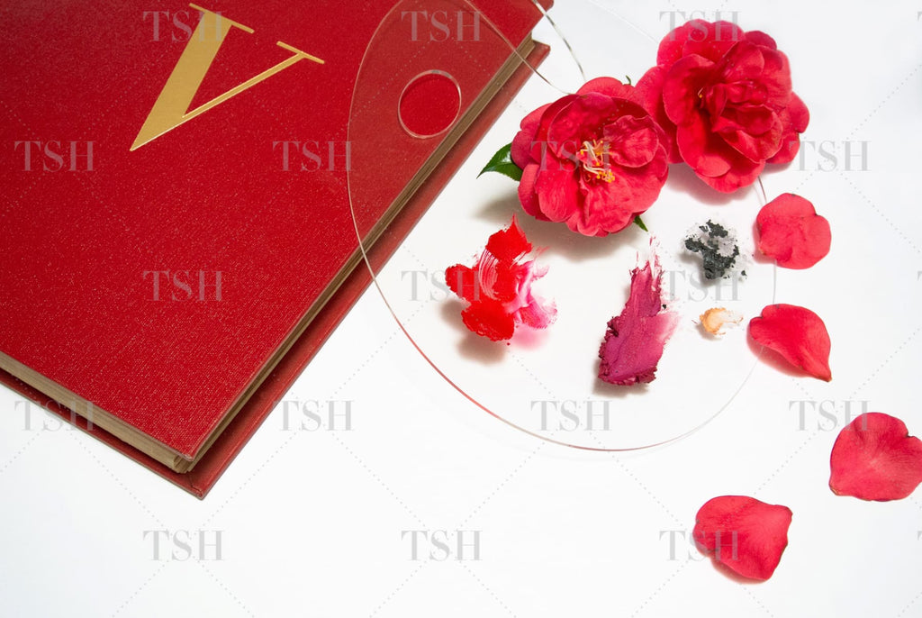 Red fashion book with artist's paint palette of abstract red and pink cosmetics and red camellia flowers on a white background.