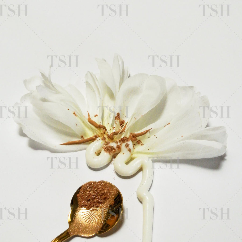 Abstract white flower with rose petals, skin care, nude foundation, and metallic cosmetics on a gold spoon.