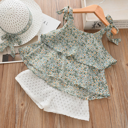 White Daisies Top & Shorts Set, Pale Blue, 2T - CeCe & Jax