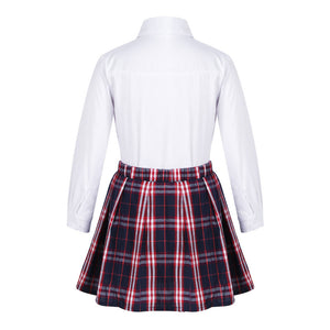 Amy Long Sleeve Shirt & Pleated Skirt & Bow-knot Set, ,  - CeCe & Jax
