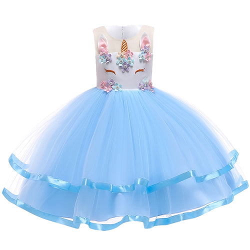 F & M Unicorn Princess Dress, Blue, 2T - CeCe & Jax