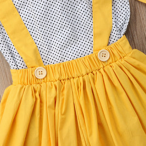 Riley Bowtie Top & Skirt Suspenders Set w| Headband, ,  - CeCe & Jax