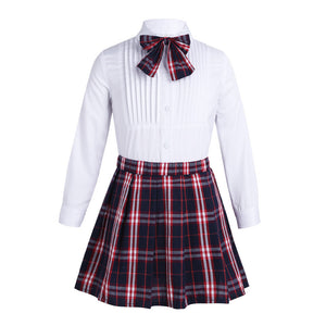 Amy Long Sleeve Shirt & Pleated Skirt & Bow-knot Set