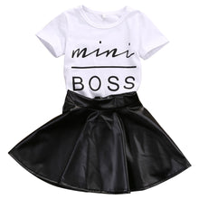 Load image into Gallery viewer, Mini Boss Shirt & Leather Skirt Set, 18M,  - CeCe & Jax
