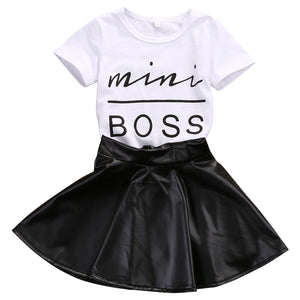 Mini Boss Shirt & Leather Skirt Set