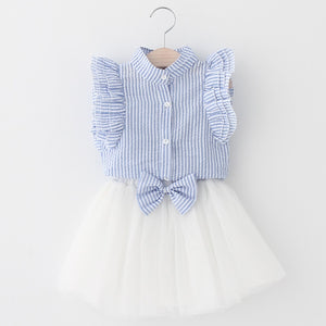 Ruffle Sleeve Plaid Top & Skirt Set, Baby Blue, 3T - CeCe & Jax