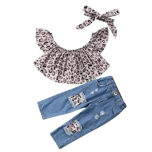Leo Crop Top & Jeans Set w| Headband