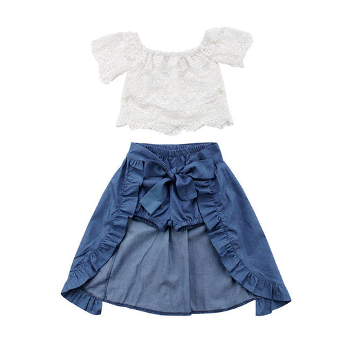Roni Lace Top & Ruffle Shorts Skirt Set