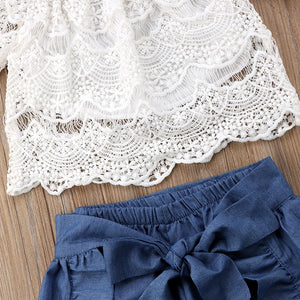 Roni Lace Top & Ruffle Shorts Skirt Set, ,  - CeCe & Jax