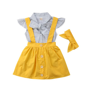 Riley Bowtie Top & Skirt Suspenders Set w| Headband