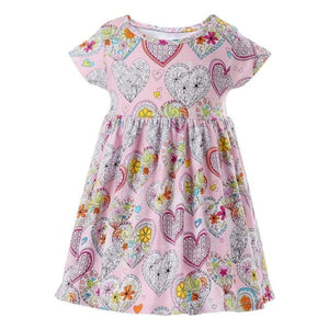 Stamped Hearts Dress, 3T,  - CeCe & Jax