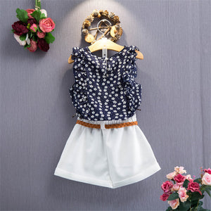 Daisy Ruffle Sleeves Top & Shorts Set, ,  - CeCe & Jax