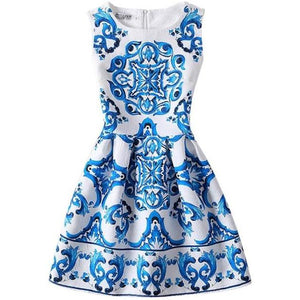 Screen Print Sleeveless Dress, Blue, 7 - CeCe & Jax