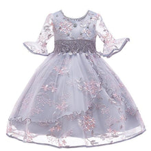 Load image into Gallery viewer, Flare Sleeves Embroidered Flower Dress (FINAL SALE), Gray, 4T - CeCe & Jax