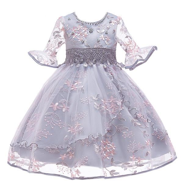 Flare Sleeves Embroidered Flower Dress (FINAL SALE), Gray, 4T - CeCe & Jax