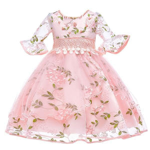 Flare Sleeves Embroidered Flower Dress (FINAL SALE), Pink, 4T - CeCe & Jax