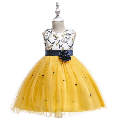 Kara Vine Embroidered Dress, Yellow/Midnight Blue, 4T - CeCe & Jax