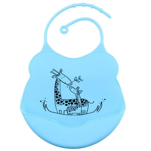 Cartoon Silicone Bib, Baby Blue,  - CeCe & Jax