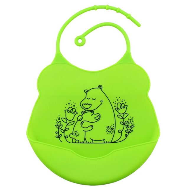 Cartoon Silicone Bib, Lime,  - CeCe & Jax
