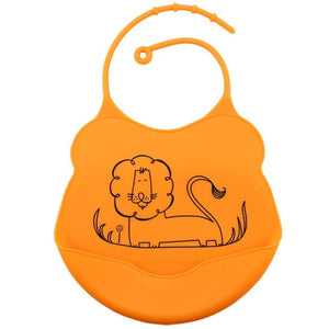 Cartoon Silicone Bib, Orange,  - CeCe & Jax