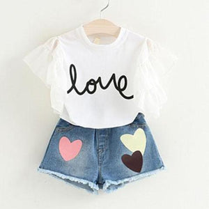 Lovely Heart Top & Shorts Set, White, 2T - CeCe & Jax