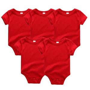 Zoomie Solid Short Sleeve 5pc Bodysuits, Red, 12M - CeCe & Jax