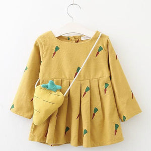 Carrot Eater Dress & Plush Toy, Pastel Yellow, 9M - CeCe & Jax