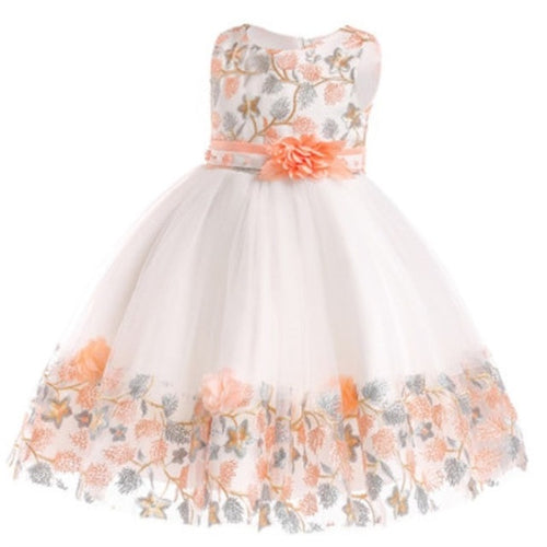 Jill Rose Embroidered Dress, Peach, 4T - CeCe & Jax