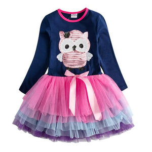 Vonna Owl Ruffled Dress, 3T,  - CeCe & Jax