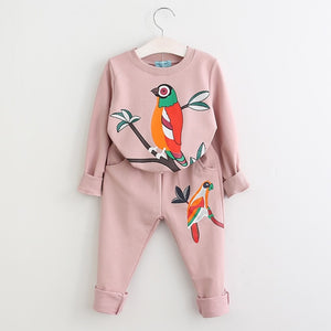 Bird Branch Sweatsuit, Pale Pink, 3T - CeCe & Jax