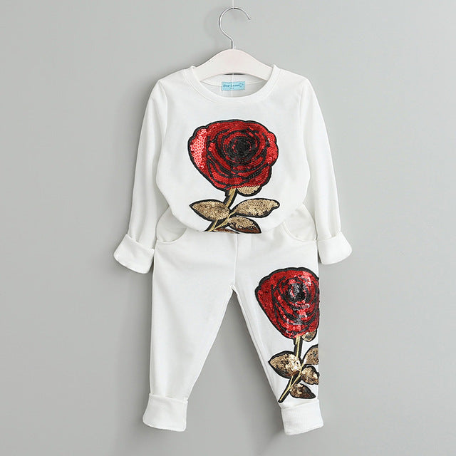 Rose Sequin Sweatsuit, White, 3T - CeCe & Jax