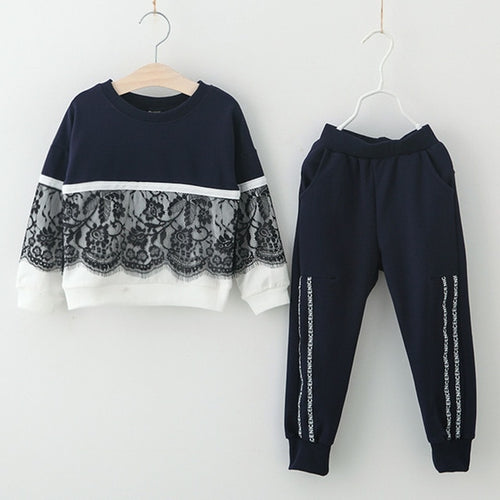 Lace Overlay Sweatsuit, Midnight Blue, 3T - CeCe & Jax