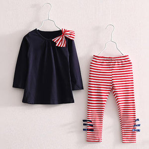 Hannah Striped Top & Leggings Set, Navy, 3T - CeCe & Jax
