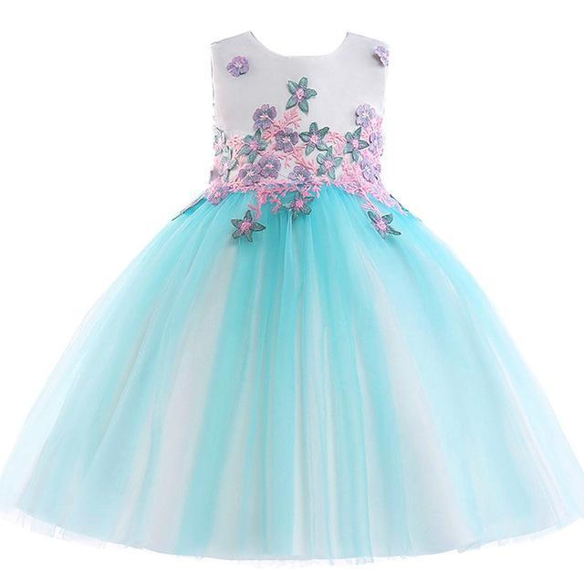Cara Floral Lace Dress, Aqua, 4T - CeCe & Jax