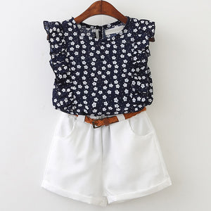 Daisy Ruffle Sleeves Top & Shorts Set, 3T,  - CeCe & Jax