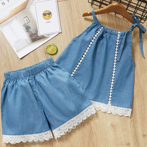 Lace Trim Denim Top & Shorts Set