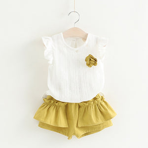 Melanie Top & Shorts Set, Pale Mustard, 2T - CeCe & Jax