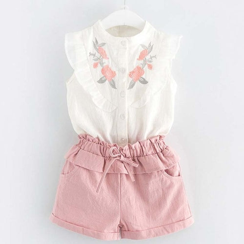Rose Collar Top & Shorts Set