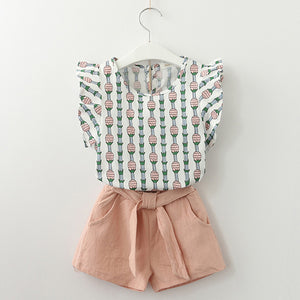 Pineapple Top & Shorts Set, Dusty Pink, 3T - CeCe & Jax
