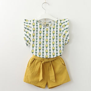 Pineapple Top & Shorts Set, Mustard, 3T - CeCe & Jax