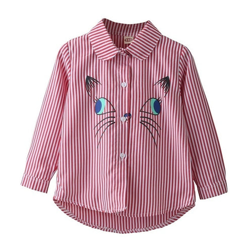 Awkward Cat Striped Shirt, Red, 5 - CeCe & Jax