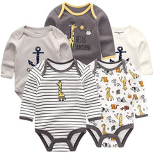 Load image into Gallery viewer, Zoomie Patterned Long Sleeve 5pc Bodysuits, Giraffe, 3M - CeCe & Jax