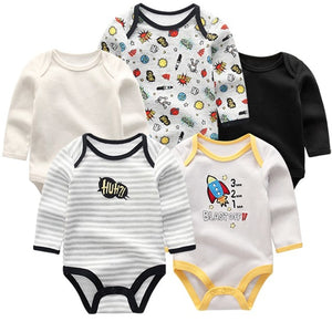 Zoomie Patterned Long Sleeve 5pc Bodysuits, Rocket, 3M - CeCe & Jax