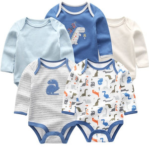 Zoomie Patterned Long Sleeve 5pc Bodysuits, Dinosaur, 3M - CeCe & Jax