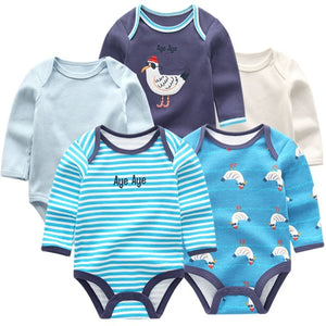 Zoomie Patterned Long Sleeve 5pc Bodysuits, Seagull, 3M - CeCe & Jax