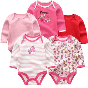 Zoomie Patterned Long Sleeve 5pc Bodysuits, Unicorn, 3M - CeCe & Jax