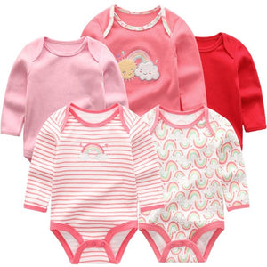 Zoomie Patterned Long Sleeve 5pc Bodysuits, Rainbow, 3M - CeCe & Jax