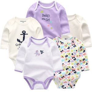 Zoomie Patterned Long Sleeve 5pc Bodysuits, Butterfly, 3M - CeCe & Jax